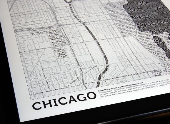 Typographic Maps Chicago Far