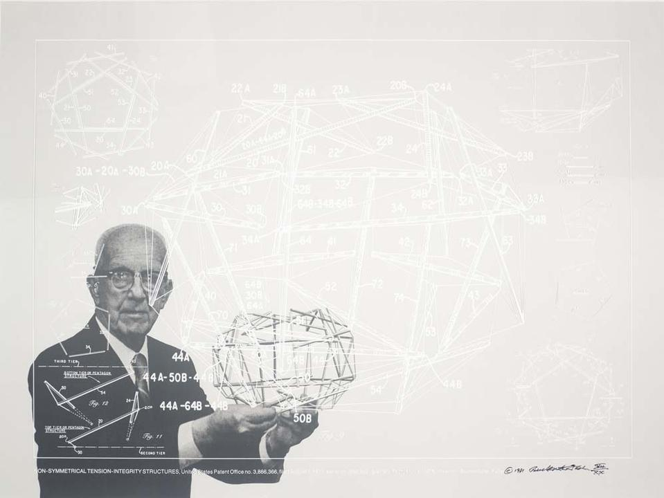 Buckminster Fuller and Chuck Byrne, Non-Symetrical Tension-Integrity Structures, United States Patent Office no. 3,866,366, from the portfolio Inventions: Twelve Around One, 1981. © The Estate of R. Buckminster Fuller, All Rights reserved. Published by Carl Solway Gallery, Cincinnati