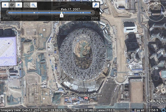 Historical Image of Beijing Bird's Nest Stadium in Google Earth 5